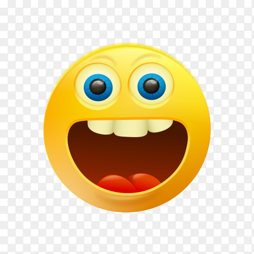 Yellow smiley emoji face on transparent background PNG
