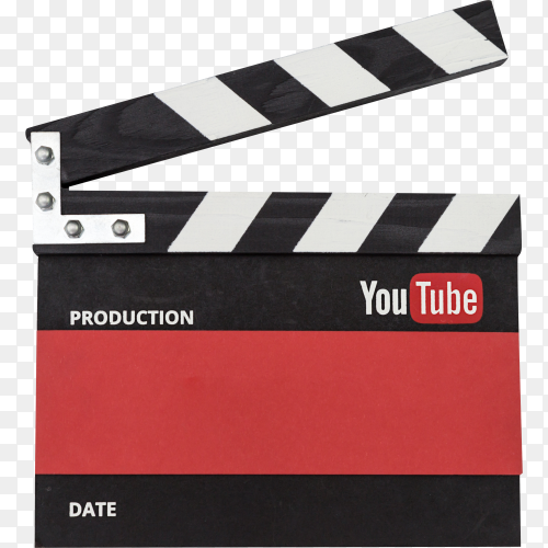 YouTube clapper board on transparent background PNG