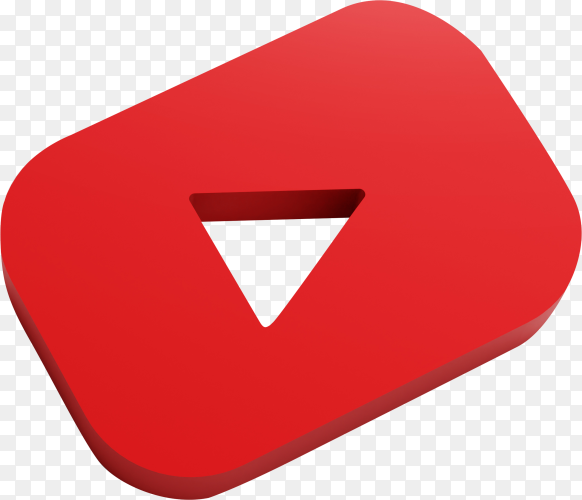 Youtube 3D icon on transparent background PNG