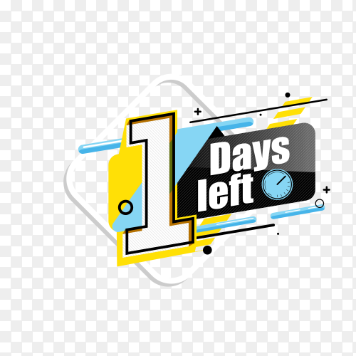 countdown label with limited time badge (1 days left ) on transparent background PNG