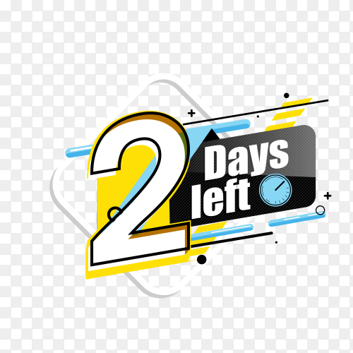 countdown label with limited time badge (2 days left ) on transparent background PNG