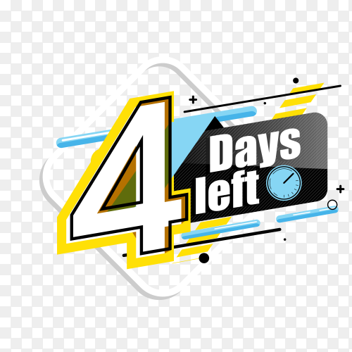 countdown label with limited time badge (4 days left ) on transparent background PNG