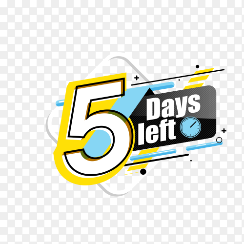 countdown label with limited time badge (5 days left ) on transparent background PNG