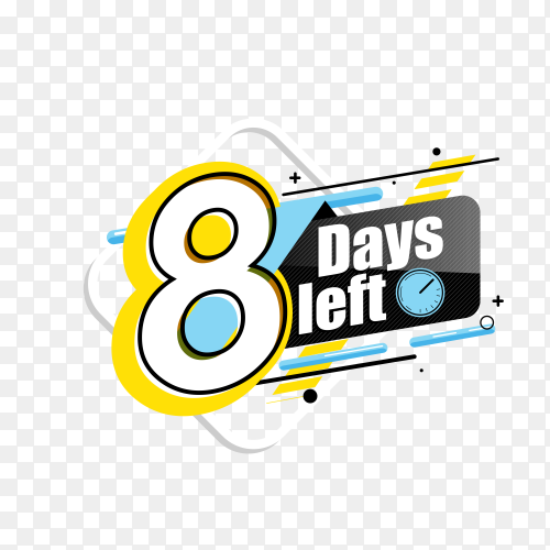 countdown label with limited time badge (8 days left ) on transparent background PNG