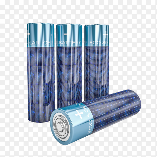 solar energy aa battery 3d rendering on transparent background PNG