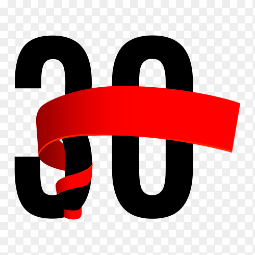 30th anniversary with red ribbon on transparent background PNG