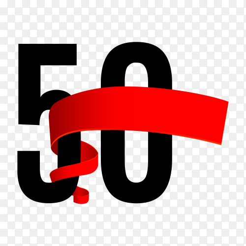 50th anniversary with red ribbon on transparent background PNG