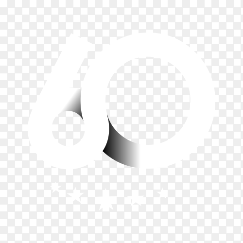 60th anniversary celebration design on transparent background PNG