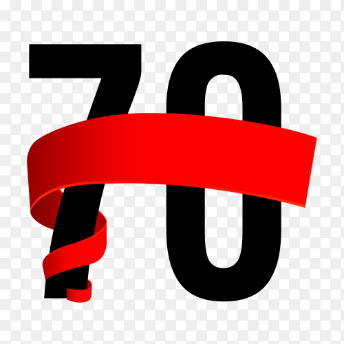 70th anniversary with red ribbon on transparent background PNG