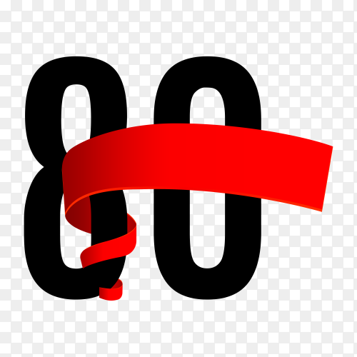 80th anniversary with red ribbon on transparent background PNG