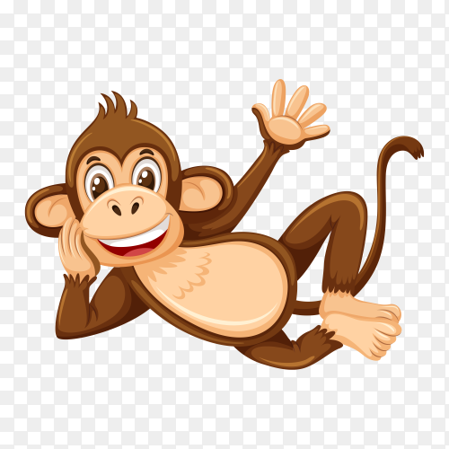 A simple monkey character on transparent background PNG
