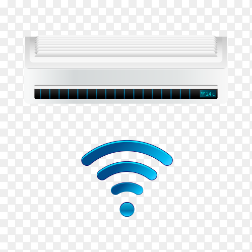 Air conditioner with WiFi control on transparent background PNG