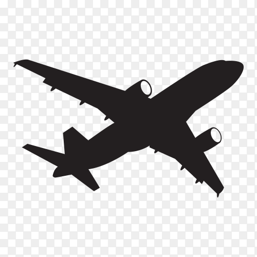 Aircraft silhouette isolated on transparent background PNG