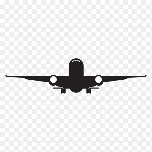 Aircraft silhouette on transparent background PNG