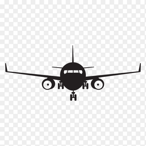Airplane silhouette on transparent background PNG
