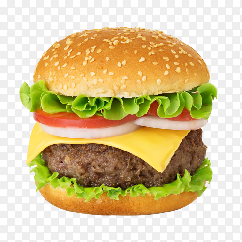 American big delicious classic burger isolated on transparent background PNG