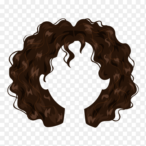 Beautiful hairstyle brown hair woman on transparent background PNG