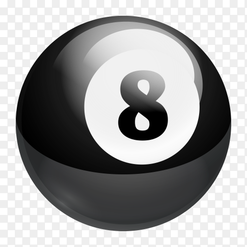 Billiards ball on transparent background PNG
