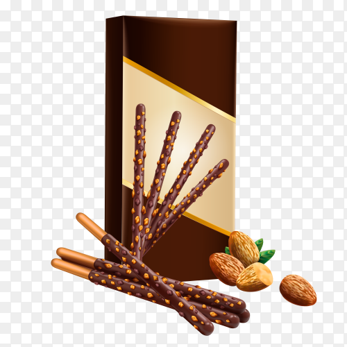 Biscuit sticks in chocolate on transparent background PNG