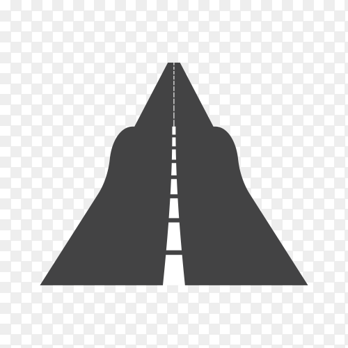 Black color road or highway with dividing marking isolated on transparent background PNG