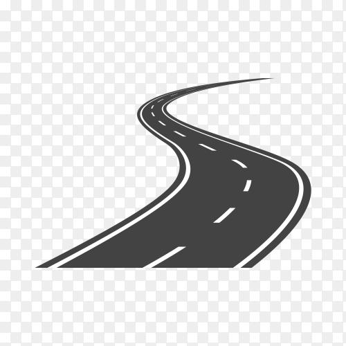 Black color road or highway with dividing marking on transparent background PNG