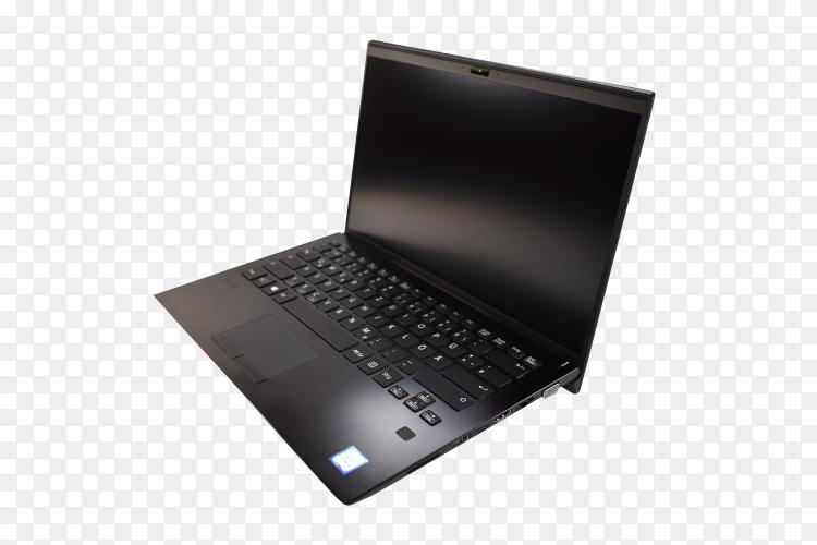 Black laptop mock-up on transparent PNG