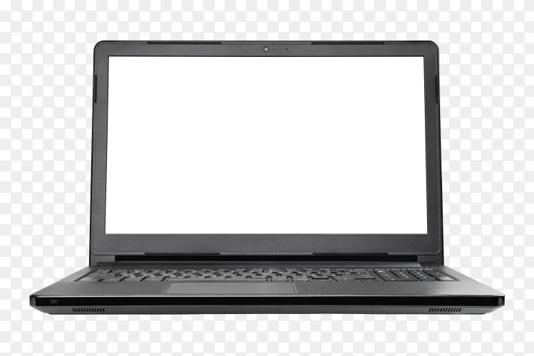 Black notebook computer on transparent background PNG