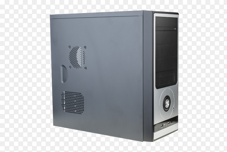 Black personal computer on transparent background PNG