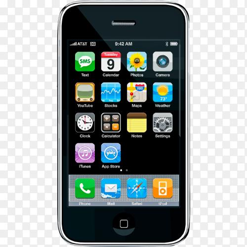 Black smartphone on transparent background PNG