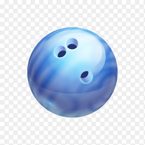 Blue Bowling ball on transparent background PNG