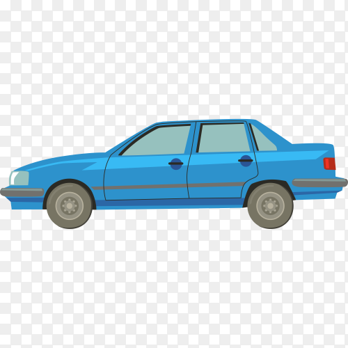 Blue car illustration on transparent background PNG