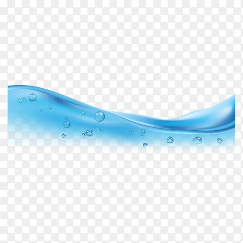 Blue clean water wave with bubbles on transparent background PNG