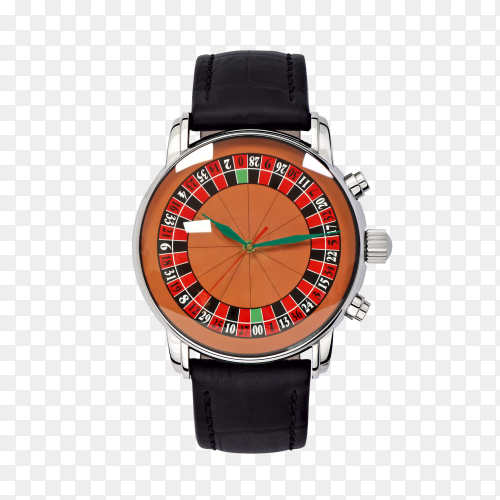 Brown watch isolated on transparent background PNG