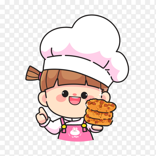 Cartoon chef girl on transparent background PNG