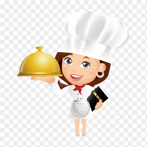 Cartoon chef woman holding tray on transparent background PNG