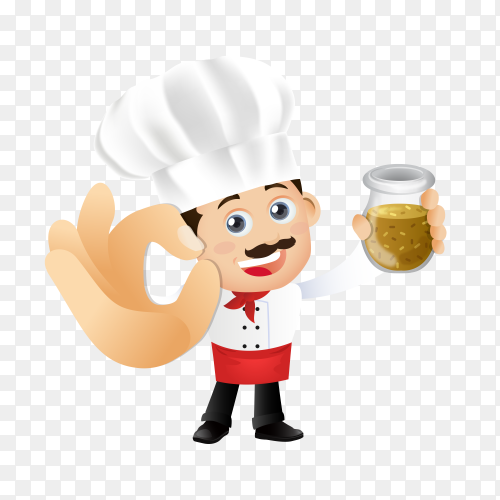 Chef character with different pose on transparent background PNG