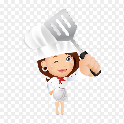Chef woman isolated on transparent background PNG