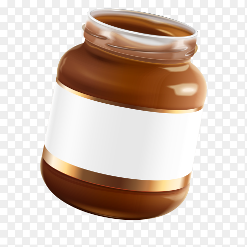 Chocolate spread  jar with blank label on transparent background PNG