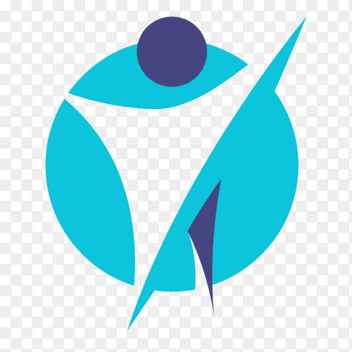 Creative physiotherapy logo symbol on transparent background PNG