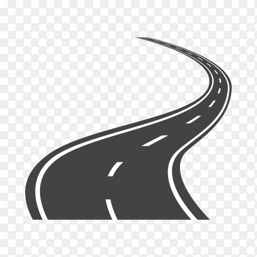 Curved highway road isolated on transparent background PNG