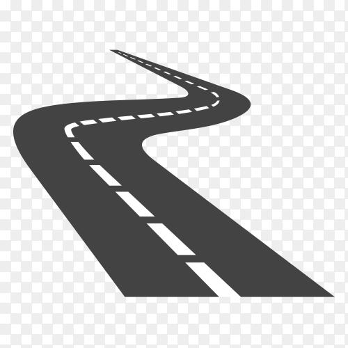 Curved road . asphalt road or way and curve road highway on transparent background PNG