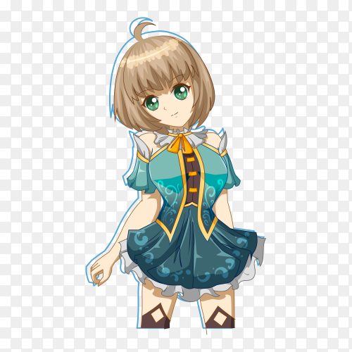 Cute and beautiful girl with blue dress character game cartoon illustration on transparent background PNG
