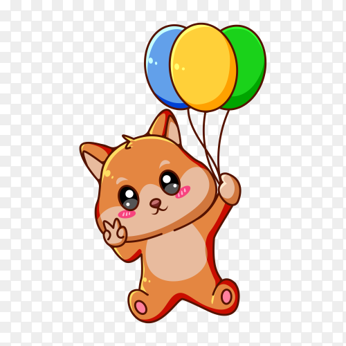 Cute and happy dog with balloon animal cartoon illustration on transparent background PNG