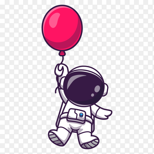 Cute astronaut floating with balloon cartoon on transparent background PNG