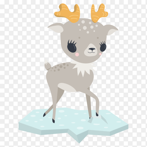 Cute baby deer looking at front illustration on transparent background PNG