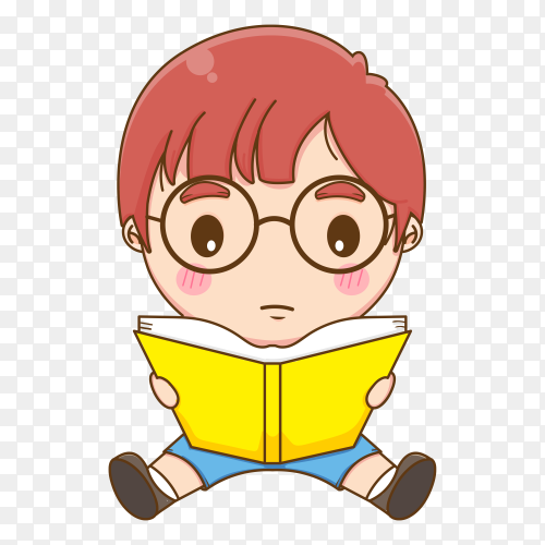 Cute cartoon boy holding book on transparent background PNG