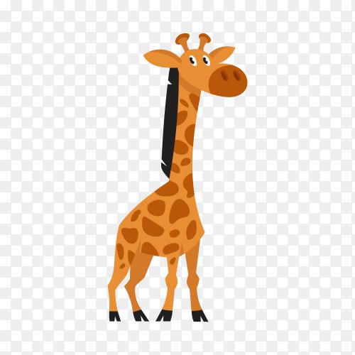 Cute cartoon giraffe on transparent background PNG