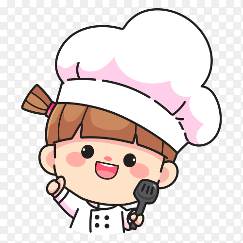 Cute chef girl smiling holding spatula logo hand drawn cartoon art  on transparent background PNG