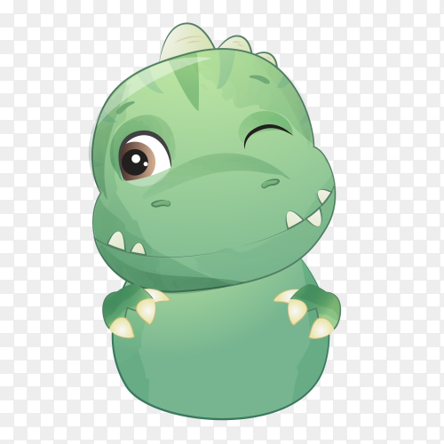 Cute little dinosaur with watercolor illustration on transparent background PNG