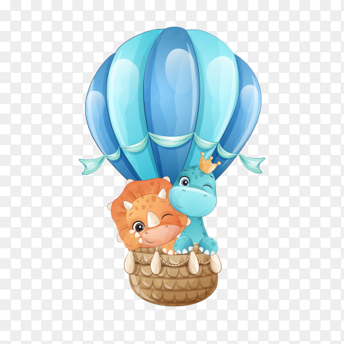 Cute little giraffe and dinosaur flying with air balloon illustration on transparent background PNG